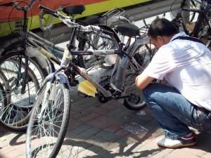That's my bike he's working on
