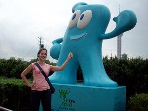 Me at the Bund with 2010 World Expo Mascot, Haibao