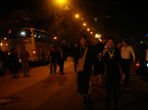 Everyone heading to their designated bus