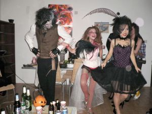 Guests at a house party do an Irish dance