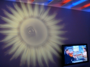 Projection of a sun that can be turned on and off.