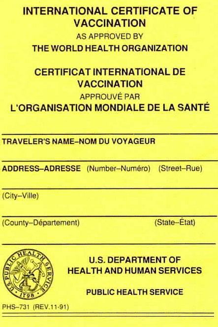 International Travel Shots Required